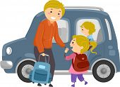 Illustration of a Little Girl Being Escorted to the Family Car by Her Dad