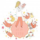 Concept baby card in pink colors with baby, doctor, toys, stork, beanbag, pacifier, rabbit, duck and