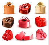 Set of colorful gift heart-shaped boxes with bows and ribbons. Vector illustration.