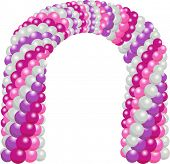 Illustration of a Welcome Arch Fashioned from Colorful Balloons