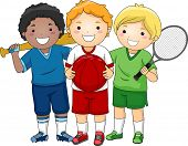 Illustration Featuring Little Boys Wearing Different Sport Uniforms