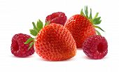 Raspberry And Strawberry Isolated On White Background