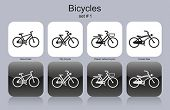 Various bicycles. Set of monochrome icons. Editable vector illustration.