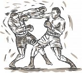 hand sketched drawing of two boxers punching