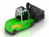 Electric Green Forklift Isolated On A White