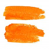 Set of Orange Watercolor Brush Strokes