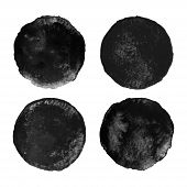 Set of black watercolor circular backgrounds