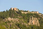 stock photo of cleopatra  - The castle in Alanya built on the hill above the beach of Cleopatra - JPG