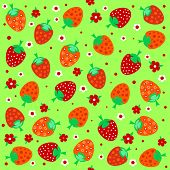 Seamless Textures With Ornament Of Strawberries And Flowers