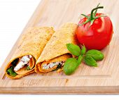 image of sandwich wrap  - Wrap sandwich with feta cheese tomatoes and basil - JPG