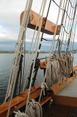 Rigging On A Tall Sailing Ship In The Pacific Northwest