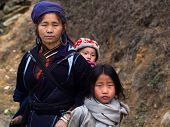 Black Hmong Woman With Her Children, Sapa, Vietnam