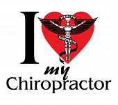 image of chiropractor  - Illustration of I Love My Chiropractor design with black and white graphic style chiropractor symbol or icon - JPG