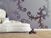 vintage sofa and wallpaper wall (3d illustration)