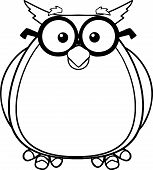 Black And White Wise Owl Teacher Cartoon Character With Glasses