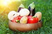 vegetables for grill in basket on the grass