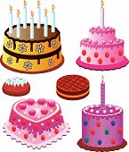 cakes set for birthday and valentine day