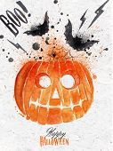 pic of gourds  - Pumpkin halloween poster with lettering stylized drawing vintage style - JPG