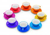 Color coffee cups arranged in circle