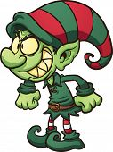 Evil Christmas elf. Vector clip art illustration with simple gradients. All in a single layer.