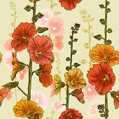 Seamless pattern with bindweed flowers