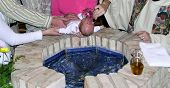 Baptism Of A Newborn Baby In A Catholic Church