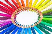 Circle with Colorful Crayons