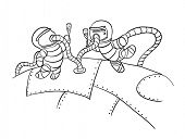 astronauts in outer space, vector illustration