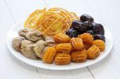 iranian sweets, zoolbia, bamieh & dry fruits