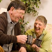 Senior Man And Woman Couple Relaxing
