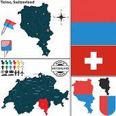 Map Of Ticino, Switzerland