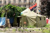 Protesters tents at Khreshatyk street with Ukrainian Insurgent Army flags in Kiev