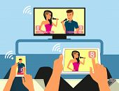 Multiscreen interaction. Man and woman are participating in TV singer show using smartphone and tabl