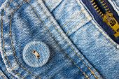 Jeans Button Bottom Left Corner With Part Of Pocket And Zip