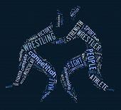 Wrestling Word Cloud With Blue Wordings