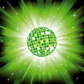 Sparkling disco ball on green light burst and glitter stars