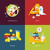 Set of flat design concept icons for food and drinks.