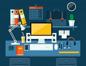 Flat modern design vector illustration concept of office workspace.