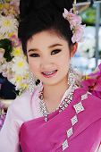 Smiling young girl on Chiang Mai Flower Festival