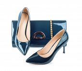 picture of clutch  - Beautiful blue shoes with clutches on white isolated background - JPG