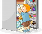 Illustration of a Little Boy Getting a Bottle of Milk From the Refrigerator