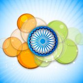 Blue Asoka Wheel and saffron and green colors circle on blue background for 15th of August, Indian I