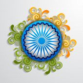 image of asoka  - Blue Asoka Wheel decorated with floral design in saffron and green color on grey background for 15th of August - JPG