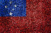 foto of samoa  - Samoa Flag color grass texture background concept - JPG