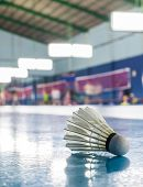 foto of badminton player  - A shuttlecock on the ground in the indoor Badminton court - JPG