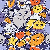 image of kawaii  - Seamless halloween kawaii pattern with sticker cute doodles - JPG