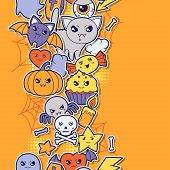 stock photo of kawaii  - Seamless halloween kawaii pattern with sticker cute doodles - JPG