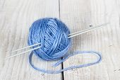 Clew Of Wool Yarn With Needles