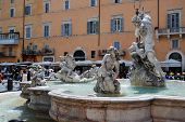 Sculptures In Rome City Navona Place On May 29, 2014