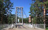 Suspended bridge through Katun.